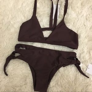 MIKOH eggplant colored bikini medium